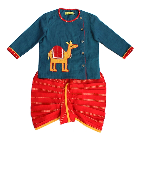 Tiber Taber Boys Blue & Red Printed Dhoti Set