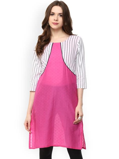 Aum Women Pink Printed Straight Kurta
