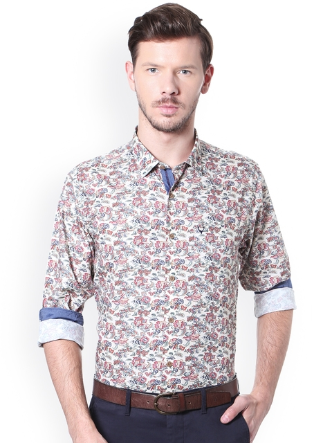 Allen Solly Men Beige & Red Slim Fit Printed Casual Shirt
