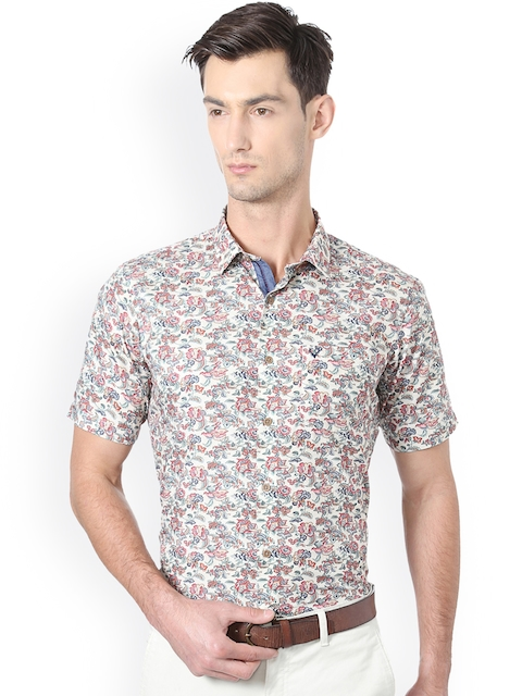 Allen Solly Men Beige Slim Fit Floral Print Casual Shirt