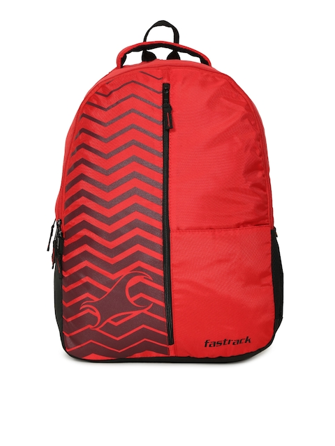 Fastrack Men Red Geometric Print Backpack