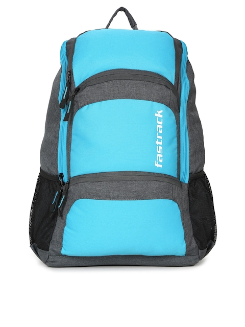 Fastrack Men Blue & Grey Colourblocked Backpack