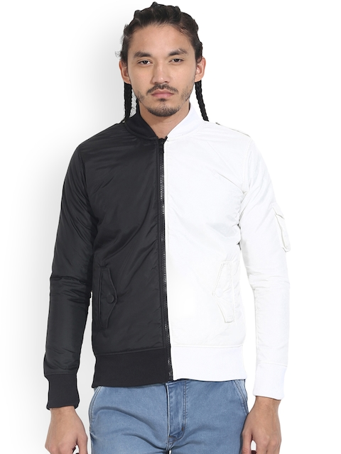 Wear Your Mind Men Black Colourblocked Insulator Bomber