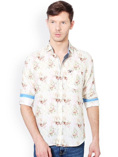 Allen Solly Men Beige Slim Fit Printed Linen Casual Shirt