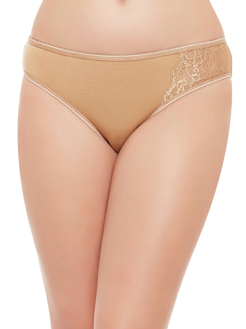 Clovia Women Nude-Coloured Bikini Briefs,�With Lace PN1380P24XXL