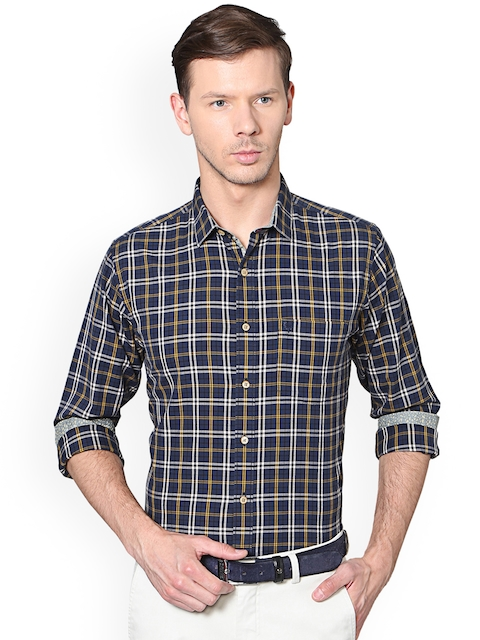 Allen Solly Men Navy Blue & Yellow Slim Fit Checked Semiformal Shirt
