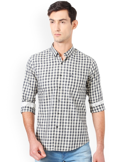 Allen Solly Men Grey & Off-White Regular Fit Checked Casual Shirt