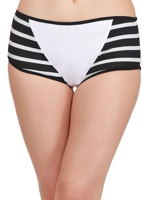 Clovia Women Black & White Striped Hipster Briefs,,�PN1725P13XXL