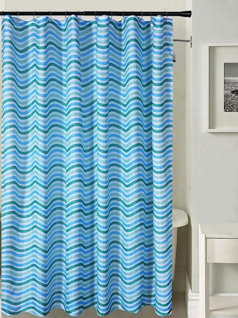 Deco Window Blue Printed Shower Curtain