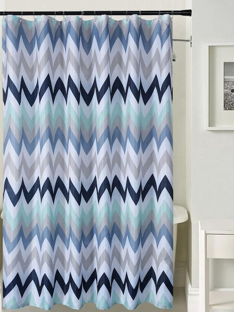 Deco Window Navy & White Chevron Print Shower Curtain