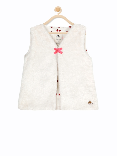 Cherry Crumble Girls White Solid Open Front Jacket