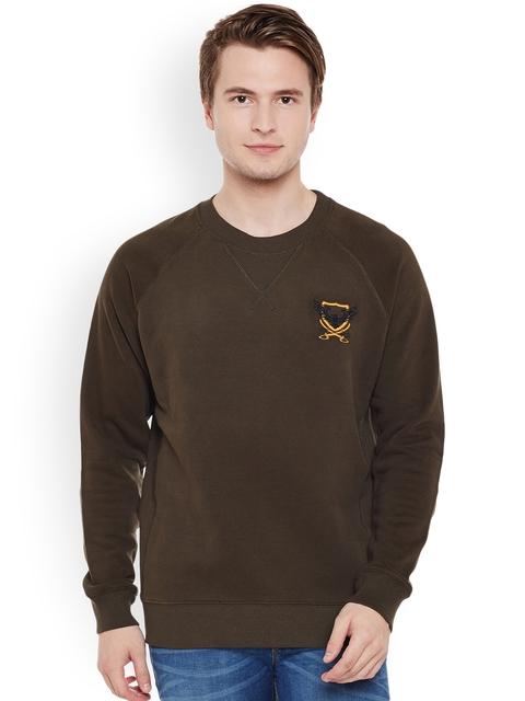 The Vanca Men Olive Brown Solid Sweatshirt