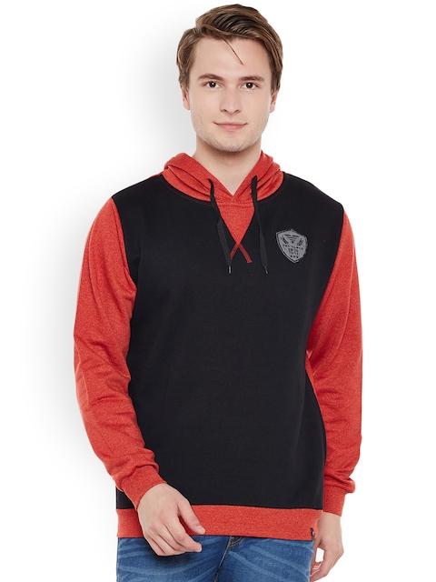 The Vanca Men Black & Red Colourblocked Hooded Sweatshirt