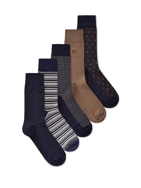 next Men Navy Blue & Brown Pack of 5 Patterned Socks