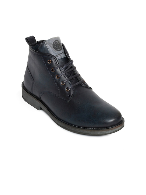 bacca bucci Men Blue Solid Synthetic Leather High-Top Flat Boots