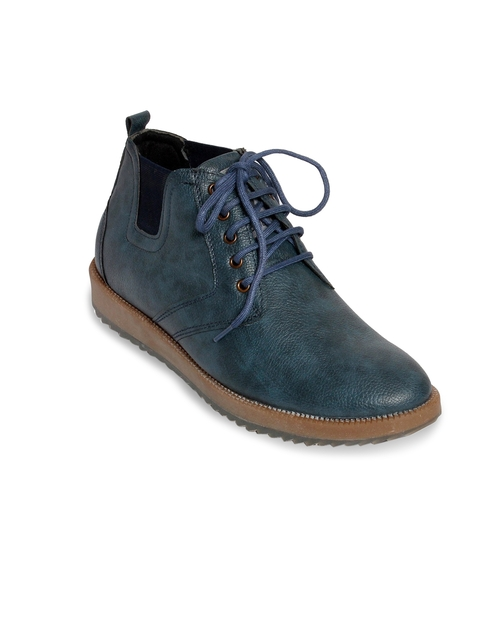 bacca bucci Men Blue Solid Synthetic Leather High-Top Derbys