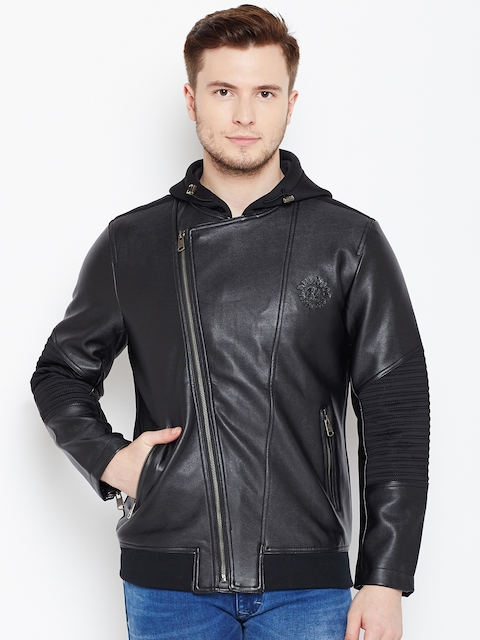 Being Human Men Black Solid Asymmetric Closure Hooded Tailored Jacket
