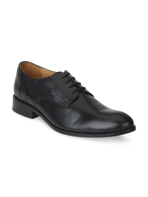 Raymond Men Black Round-Toed Leather Derby Shoes