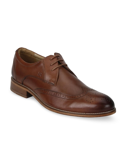 Raymond Men Brown Round-Toed Leather Brogues