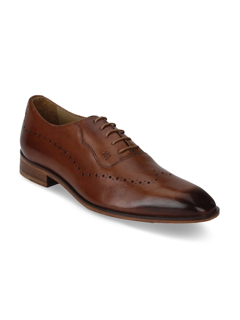 Raymond Men Brown Leather Oxfords