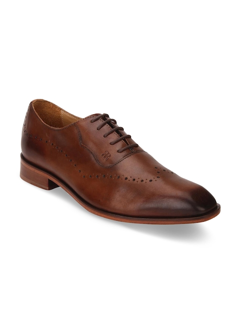 Raymond Men Brown Leather Oxfords