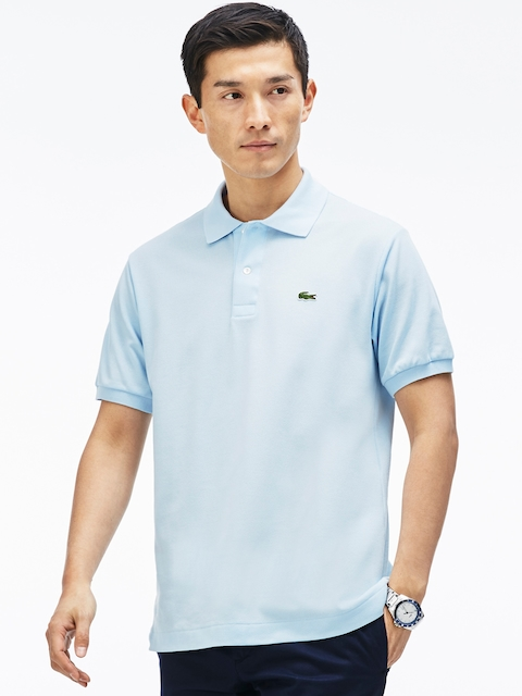 Lacoste Men Blue Loose Fit Solid Polo Collar T-shirt