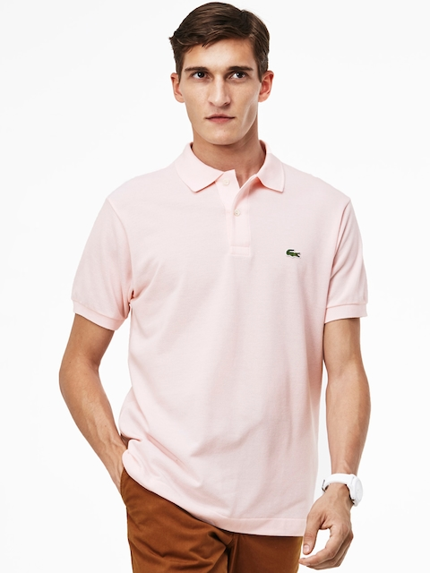 Lacoste Men Pink Solid Loose Fit Polo Collar T-shirt