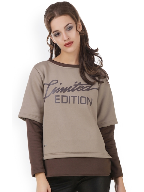 Texco Women Beige & Brown Printed Sweatshirt