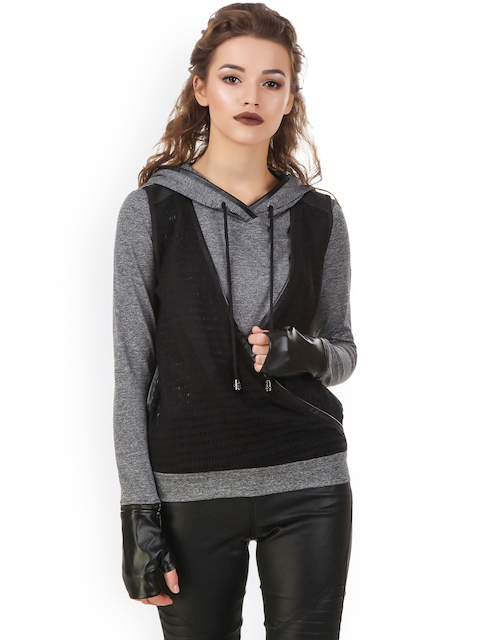 Texco Women Grey & Black Solid Hood Sweatshirt