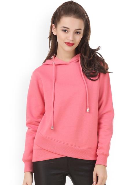 Texco Women Pink Solid Hooded Comfort Fit Sweatshirt