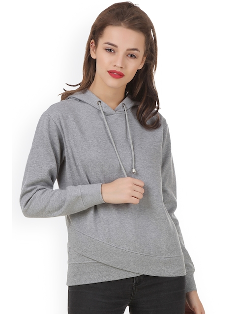 Texco Women Grey Solid Hooded Comfort Fit Sweatshirt