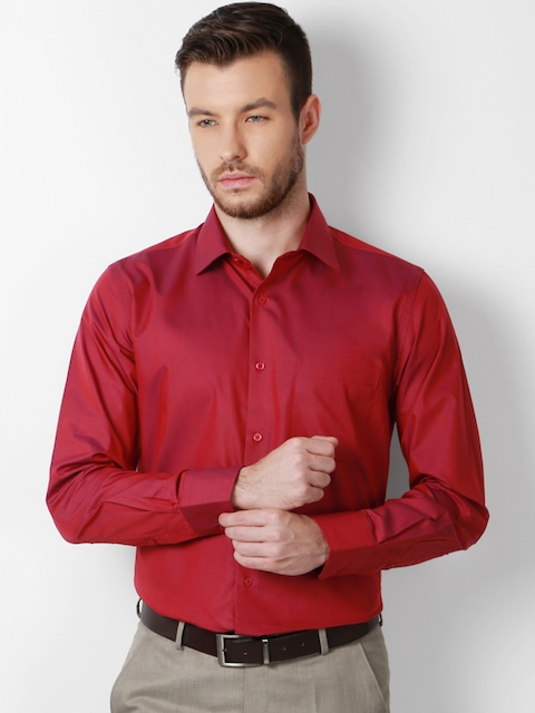 Peter England Men Red Slim Fit Solid Formal Shirt