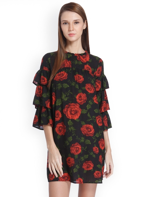 ONLY Women Black & Red Printed A-Line Dress