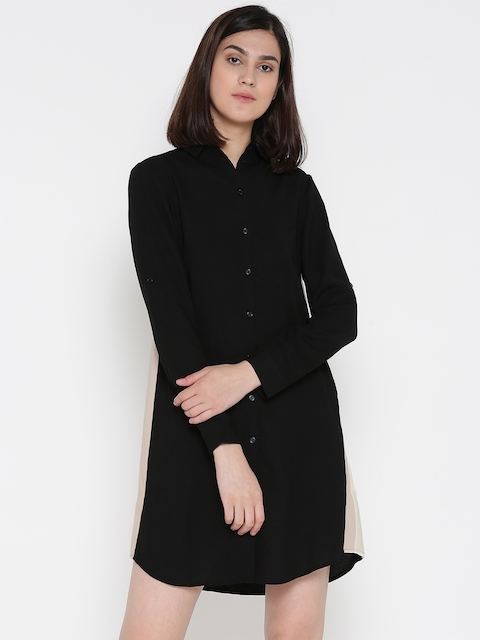ONLY Women Black Solid Shirt Dress