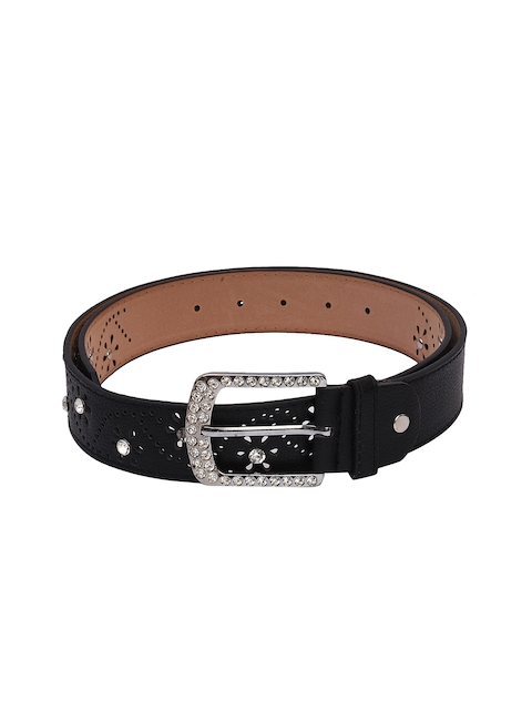 BuckleUp Women Black Embellished Belt