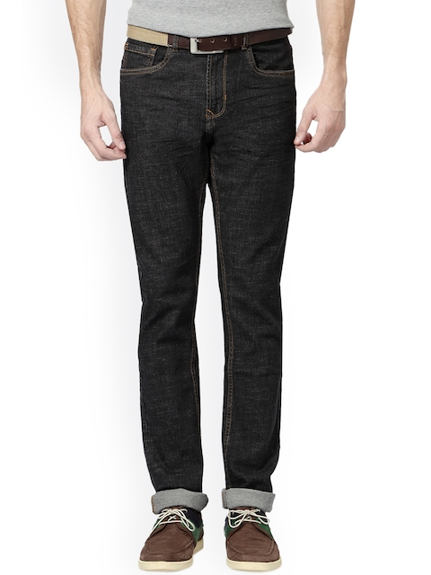 Peter England Casuals Men Black Slim Fit Mid-Rise Clean Look Stretchable Jeans