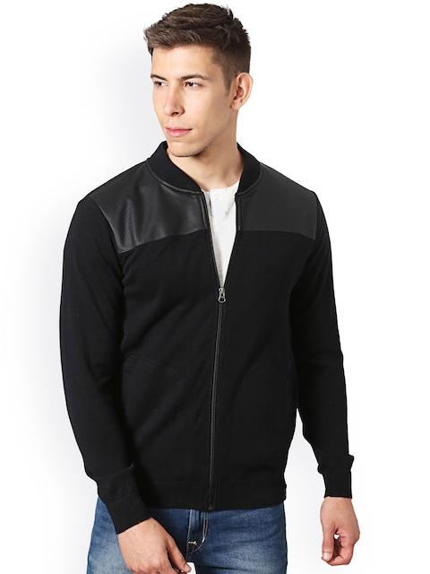 Peter England Men Black Self-Design Bomber Jacket