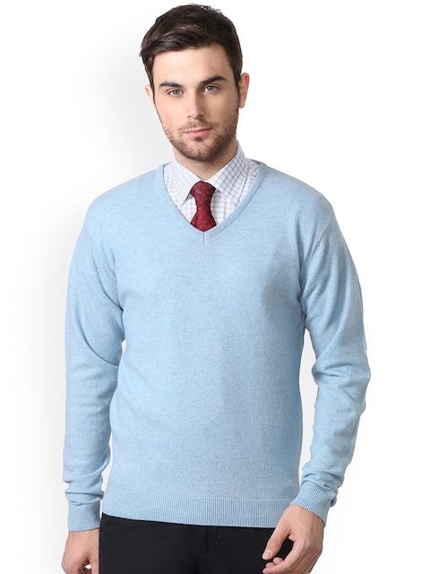 Peter England Men Blue Woollen Pullover