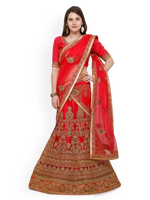 Aasvaa Red Embroidered Net Semi-Stitched A-Line Lehenga Choli with Dupatta