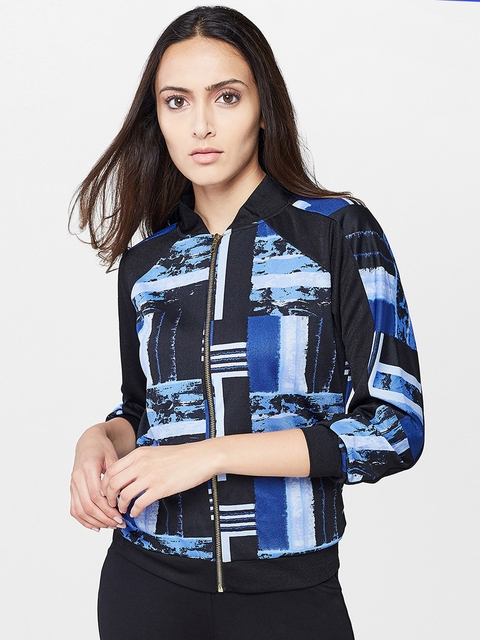 AND Women Blue Printed Tailored Jacket
