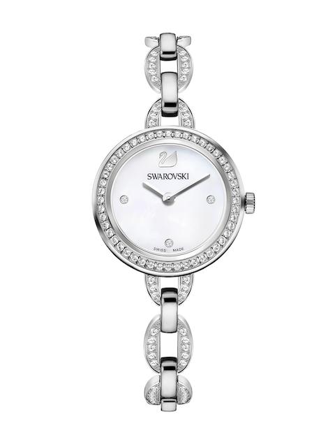 SWAROVSKI Women Aila Silver-Toned Bracelet Watch