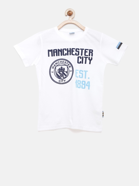 Manchester City FC Boys White Solid Round Neck T-shirt