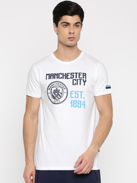Manchester City FC Men White Printed Round Neck T-shirt