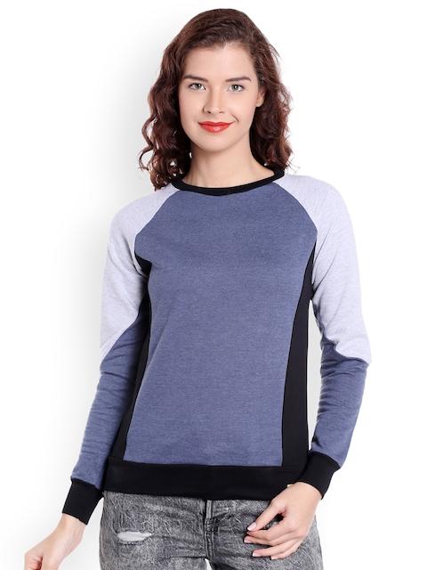 Campus Sutra Women Blue Colourblocked Sweatshirt