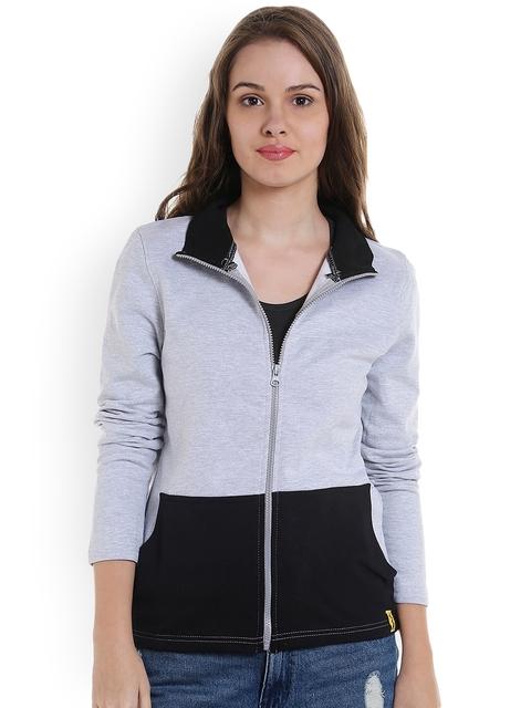Campus Sutra Women Grey & Black Colourblocked Sweatshirt