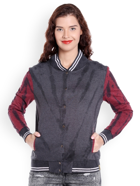 Campus Sutra Women Charcoal Self Design Bomber