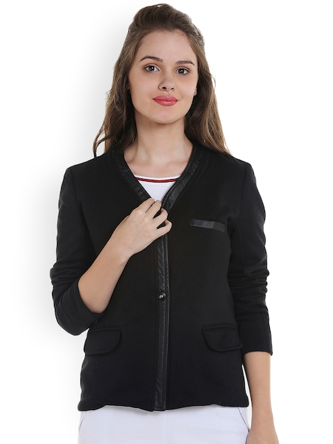 Campus Sutra Women Black Solid Tailored Jacket