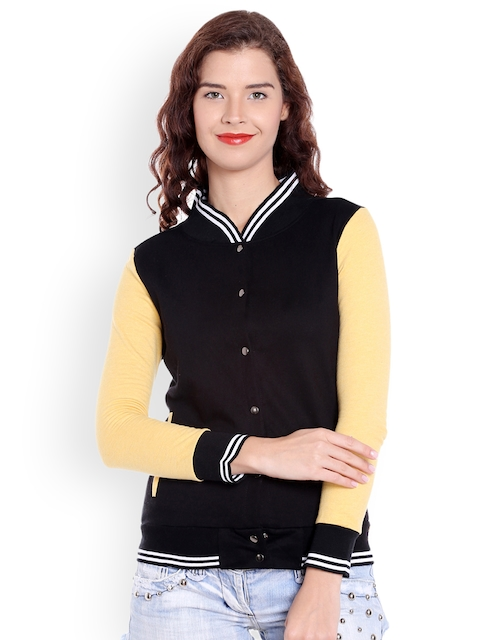 Campus Sutra Women Black Solid Bomber