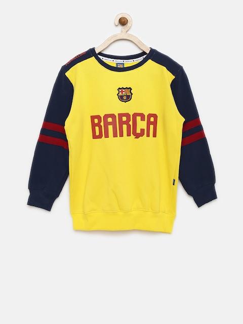 FC Barcelona Boys Yellow & Navy Blue Printed Sweatshirt