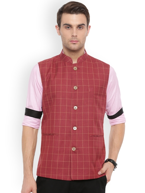 Shaftesbury London Maroon & White Checked Slim Fit Nehru Jacket
